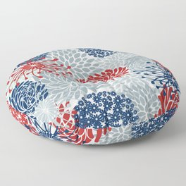 Floral Abstract Print, Red, Navy, Blue, Gray Floor Pillow