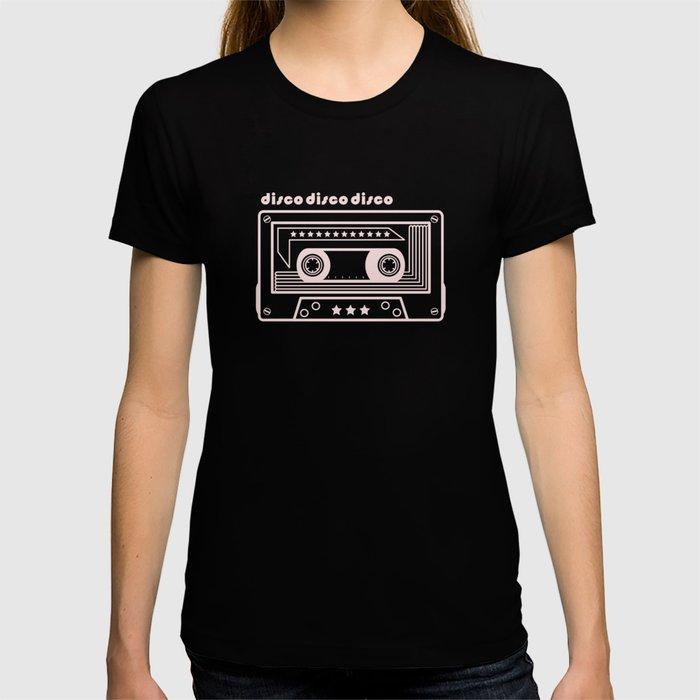 Black and White Disco Music Cassette T-shirt