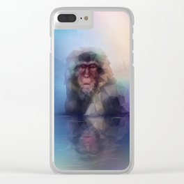 Macaque (Low Poly Multi I Snow Monkey) Clear iPhone Case