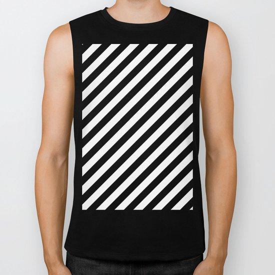 Diagonal Stripes (Black/White) Biker Tank