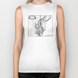 Vintage Map of The Chesapeake Bay (1719) BW Biker Tank
