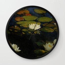 Waterlilies by Albert Edelfelt Wall Clock