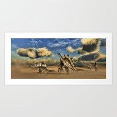 Stegosaurus dinosaur in the desert Art Print