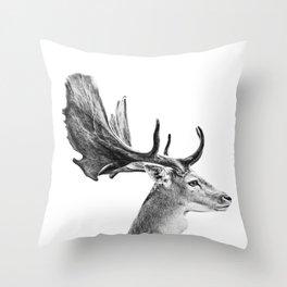 Deer Head [deer antlers_wild animal_forest animal_deer poster] Throw Pillow