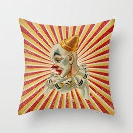 Scary vintage circus clown Throw Pillow