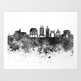 Brescia skyline in black watercolor Art Print
