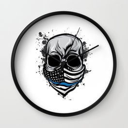 Here's A Unique Design Of A Braincase Skull With An American Flag Scarf On T-shirt Design Gray Tones Wall Clock