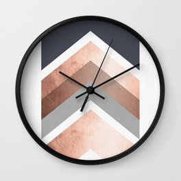 Grey, Bronze Chevron Home Decor Design Wall Clock