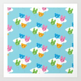 Kawaii Animal Balloons Pattern Art Print