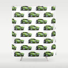 Classic Seventies Style American Muscle Car Cartoon Shower Curtain