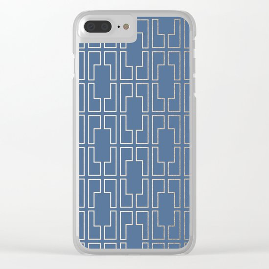 Simply Mid-Century in White Gold Sands and Aegean Blue Clear iPhone Case