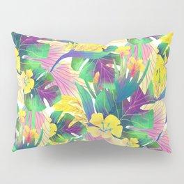 Yellow tropical plam leaves Pillow Sham