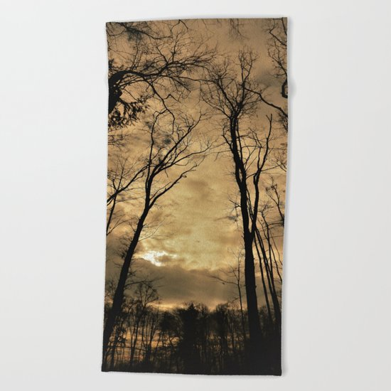 snow clouds above the wood Beach Towel