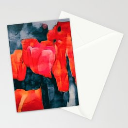 Tulip Field at Night Stationery Cards