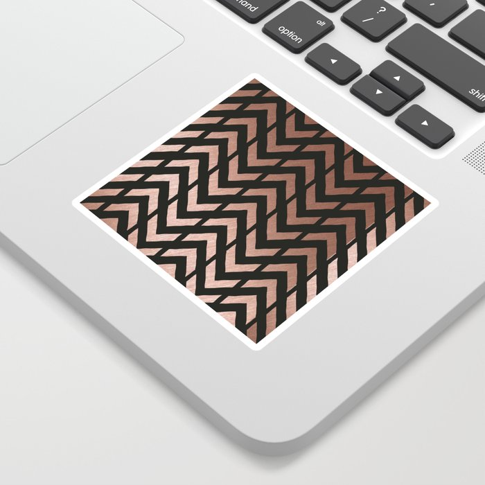 Rose gold and black chevron Sticker