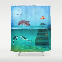 Whimsical Original Painting Life Under Sea By Liane Wright Shower Curtain