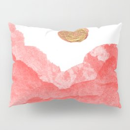 Red watercolor abstract mountains and moon Pillow Sham