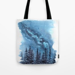 """Adventure Awaits"" watercolor galaxy landscape illustration Tote Bag"