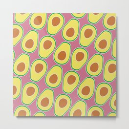 Avocado Pattern (Pink) Metal Print