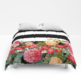 Black and White Stripe with Floral Comforters