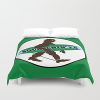 bigfoot Duvet Covers featuring Sasquatch Squatchin' Surfing Bigfoot by mailboxdisco