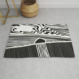Landscape with Horse Chestnut Tree - White Lines Rug