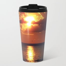 Flaming sky over Sea - Nature at its best Travel Mug