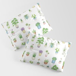 Succulents and Houseplants on white - repeat pattern Pillow Sham