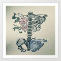 skeleton Art Prints featuring Skeleton by ArtSchool