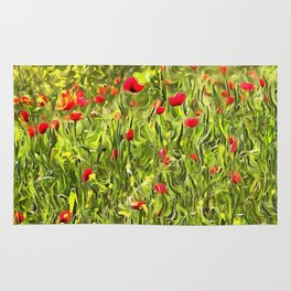 Surreal Hypnotic Poppies Rug