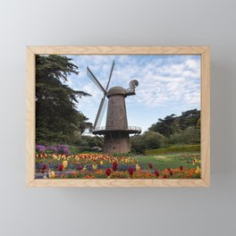 Windmill and Tulip Garden at Golden Gate Park San Francisco, California Framed Mini Art Print
