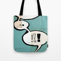 comic book Tote Bags featuring Comic Book: !!! by Ed Pires