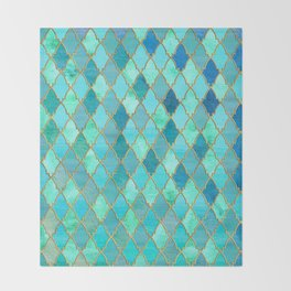 Aqua Teal Mint and Gold Oriental Moroccan Tile pattern Throw Blanket