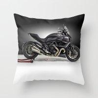 ducati Throw Pillows featuring Ducati Diavel 2013 by Elias Silva Photography