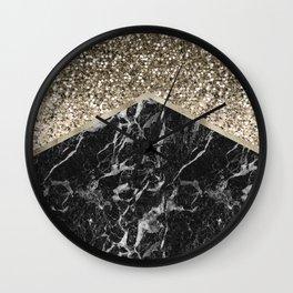 Shimmering golden chevron black marble Wall Clock