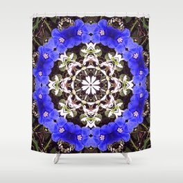 Blue and white floral mandala - Evolvulus and Diamond frost flowers 1 Shower Curtain