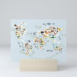 Cartoon animal world map for children and kids, Animals from all over the world, back to school Mini Art Print