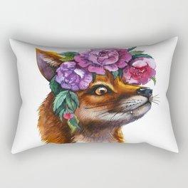 Red Fox and Peonies Rectangular Pillow