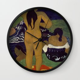 Tahitian Women Bathing by Paul Gauguin Wall Clock