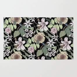 lush floral pattern with bee and beetles II Rug