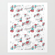 Heart Tattoo pattern Art Print