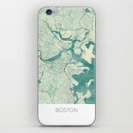 Boston Map Blue Vintage iPhone Skin