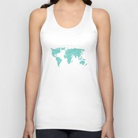 polkadot Tank Tops featuring World Map - Polkadot Atlas (Cyan) by Rothko