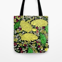 YELLOW & BLACK FLORAL FRIVOLITY FANTASY GARDEN Tote Bag