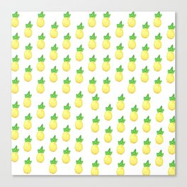 Tropical watercolor green yellow hand painted pineapple Canvas Print