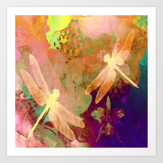 Dragonflies and Orchids QW Art Print