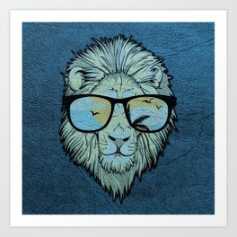 Stylish Lion Design with Moroccan Leather background Art Print