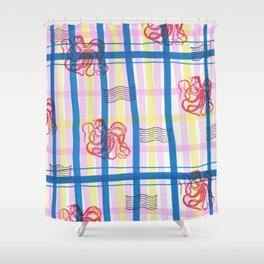 Naval Gingham Shower Curtain