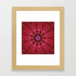 Ruby Soul Mandala - Abstract Kaleidoscope Art by Fluid Nature Framed Art Print