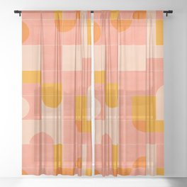 Retro Tiles 03 #society6 #pattern Sheer Curtain